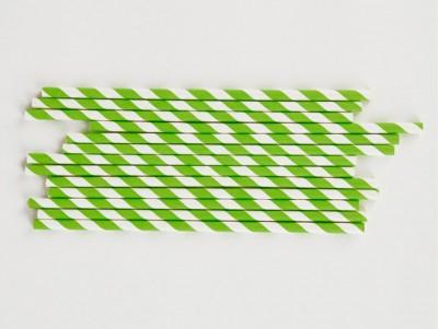 Pailles rayées Vertes