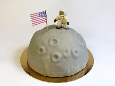 Gâteau Dans la lune, représentant une lune et un cosmonaute astronaute Thomas Pesquet, à la Myrtilles & vanille